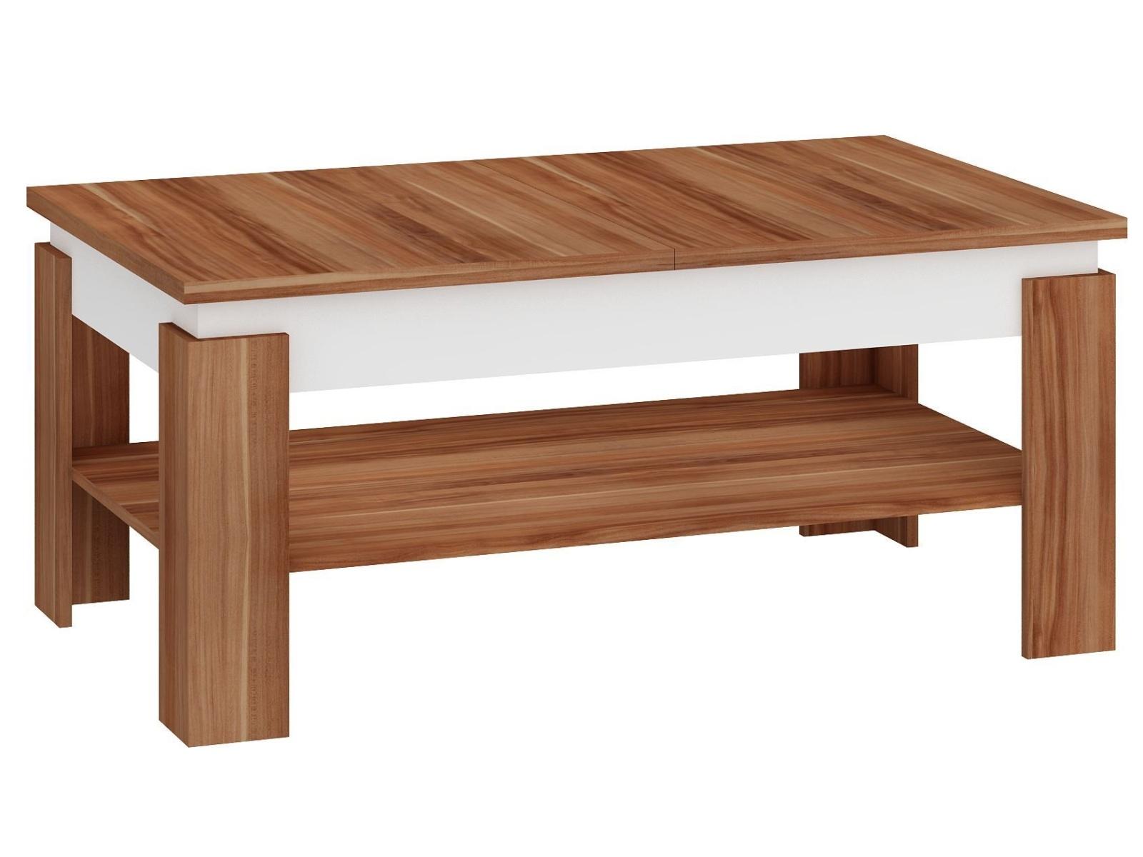 MORAVIA FLAT Konferenční rozkládací stolek BOSTON, švestka wallis/bílá