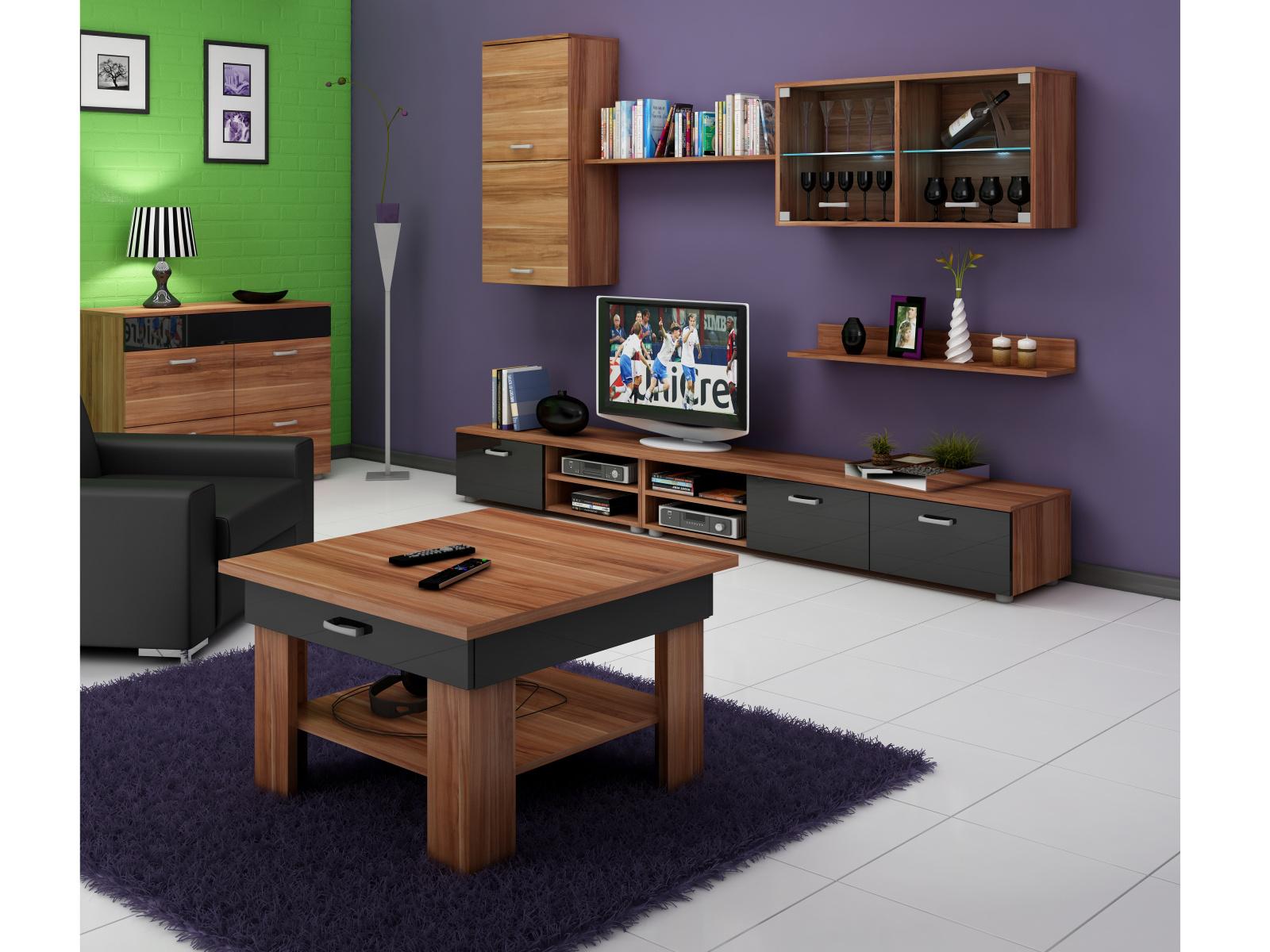 MORAVIA FLAT Konferenční stolek OMEGA, švestka wallis/černý lesk