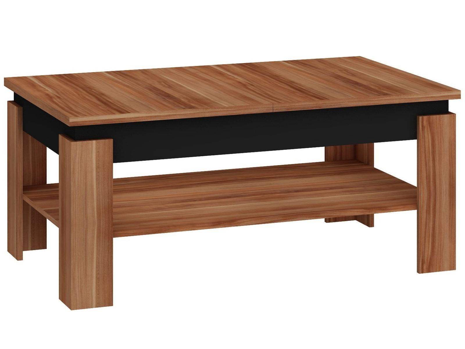 MORAVIA FLAT Konferenční rozkládací stolek BOSTON, švestka wallis/černý lesk