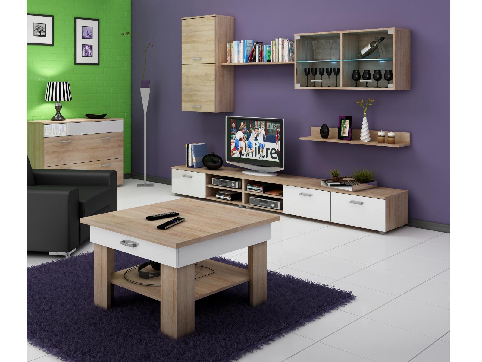 MORAVIA FLAT Konferenční stolek OMEGA, dub sonoma/bílý lesk