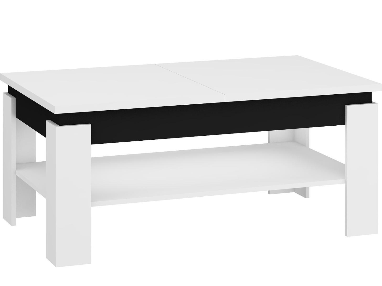 MORAVIA FLAT Konferenční rozkládací stolek BOSTON, bílá/černý lesk