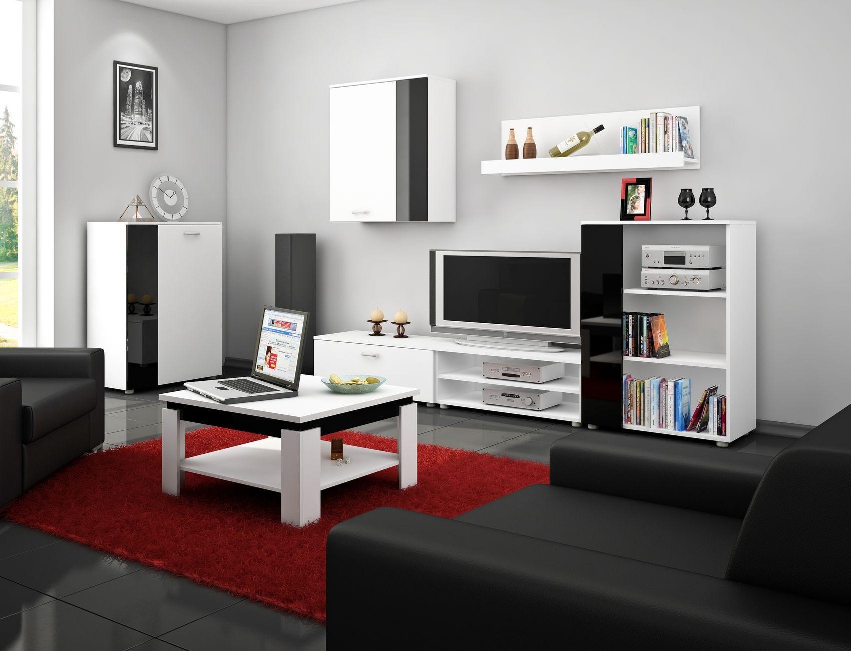MORAVIA FLAT Obývací stěna SKY, bílá/černý lesk