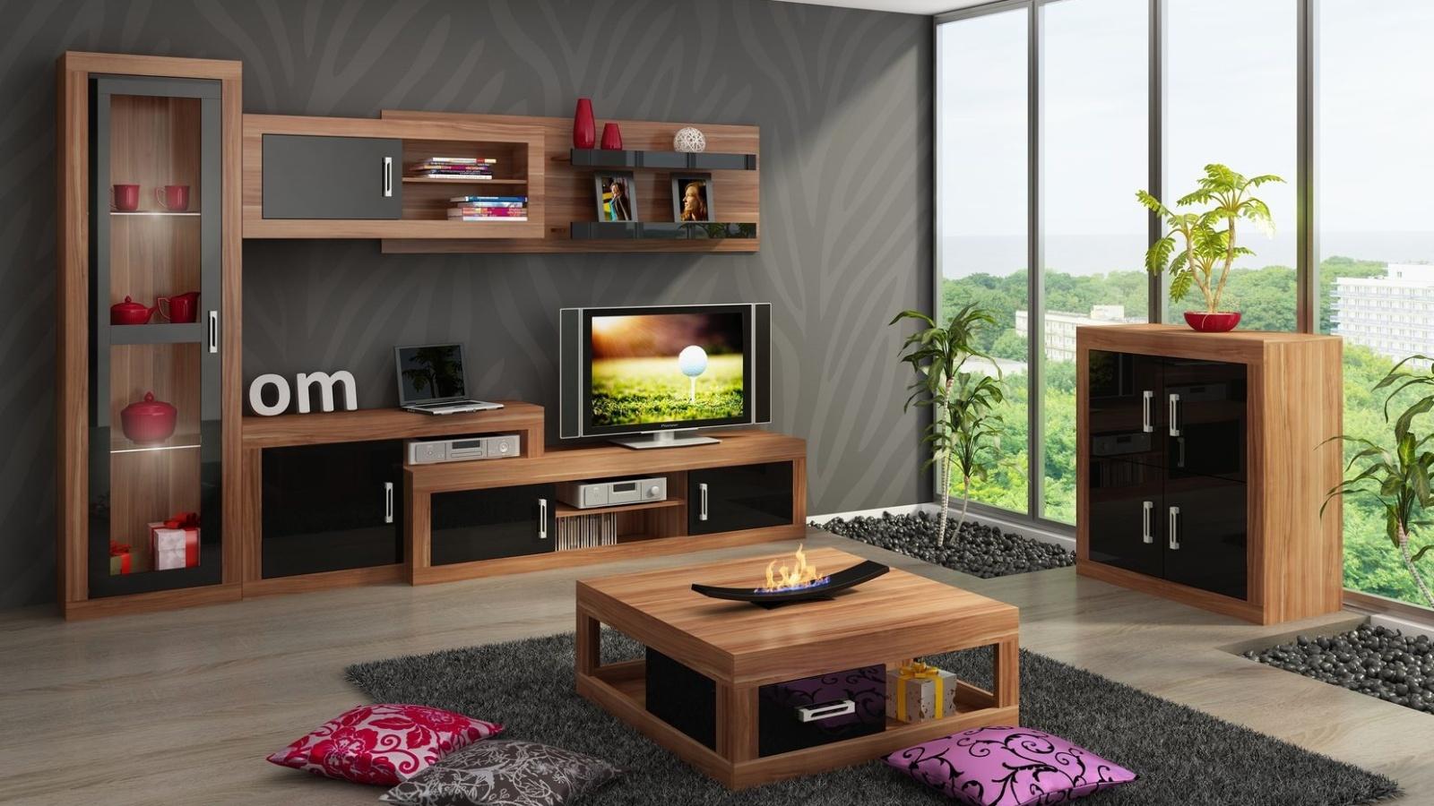 MORAVIA FLAT Obývací stěna VERIN 3, švestka wallis/černý lesk