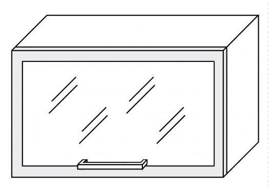 Extom PLATINUM, skříňka horní prosklená W4bs 60 ALU, grey