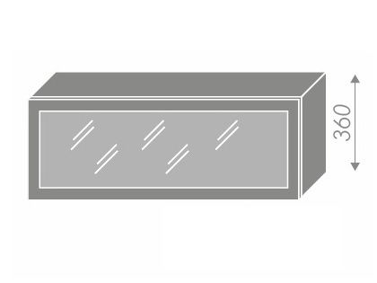 Extom PLATINUM, skříňka horní prosklená W4bs 90 ALU, korpus: grey