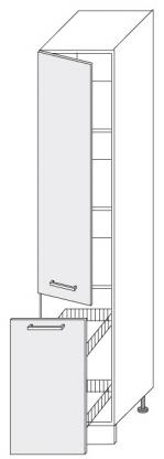 Extom *SILVER+, skříňka potravinová 2D14k 40 + cargo, korpus: grey