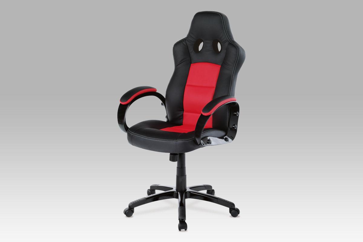 Autronic Kancelářská židle KA-E280B RED, PU černo-červená