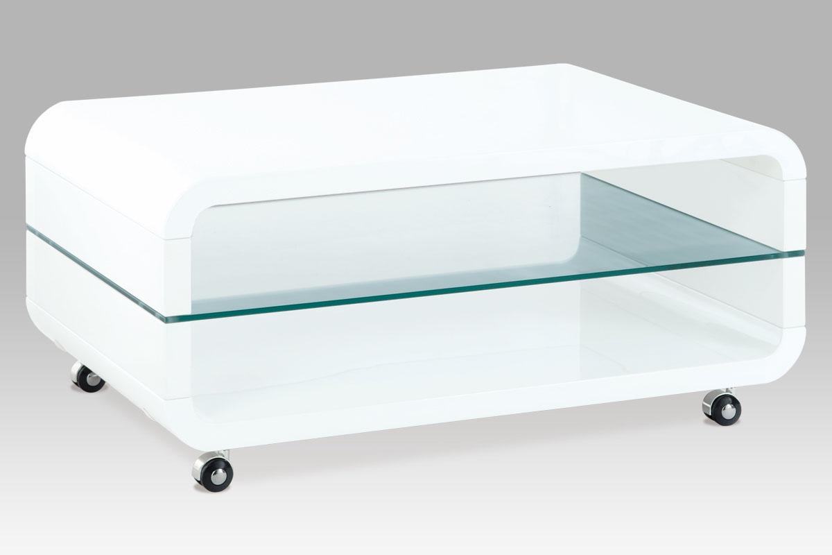 Autronic Konferenční stolek AHG-011 WT, sklo / vys. lesk bílý