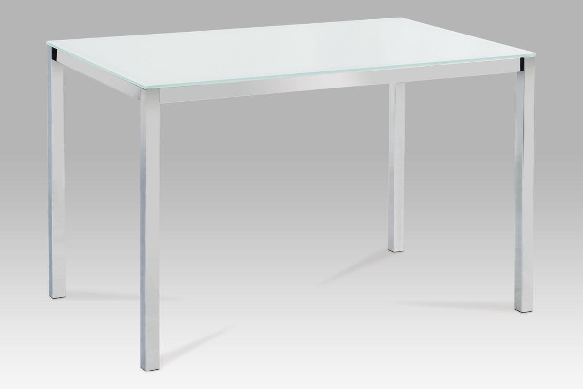 Autronic Jídelní stůl T-520B WT, bílé sklo/chrom