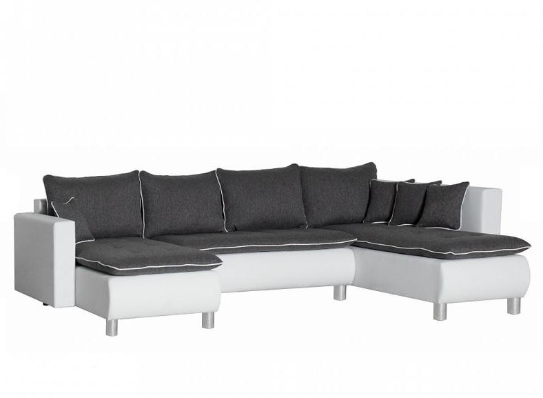 Black Red White Rohová sedačka PRIMA, univerzální, šedá-bílá