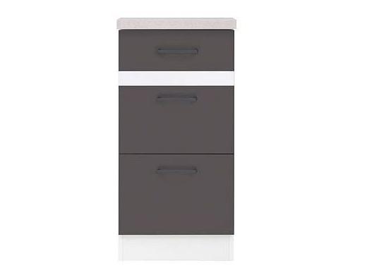 Black Red White JUNONA LINE, skříňka dolní 3 šuplíky 40 cm, wolfram šedý
