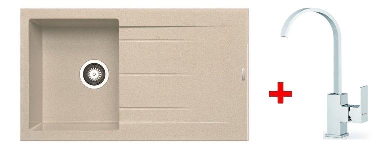 Pyramis SET dřez ALAZIA 86x50 + páková baterie RISOLUTO-CHROM, barva:
