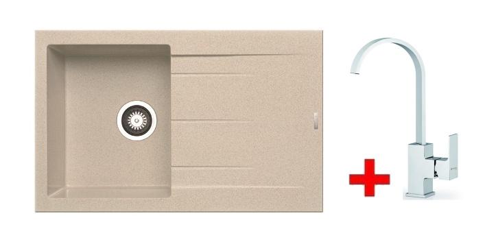 Pyramis SET dřez ALAZIA 79x50 + páková baterie RISOLUTO-CHROM, barva: