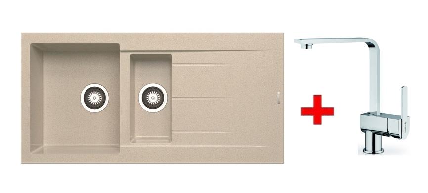 Pyramis SET dřez ALAZIA 100x50 + páková baterie ESPRESSIVO-CHROM, barva: ...