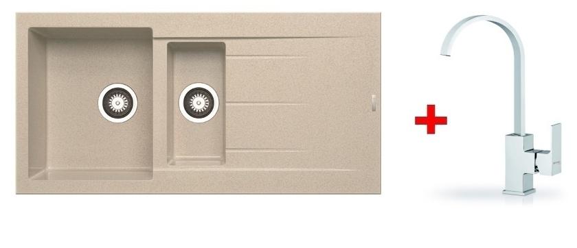 Pyramis SET dřez ALAZIA 100x50 + páková baterie RISOLUTO-CHROM, barva: