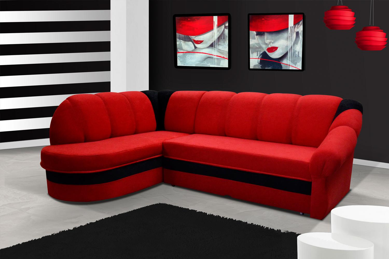ELTAP Rohová sedačka BENANO, levá, červená/černá