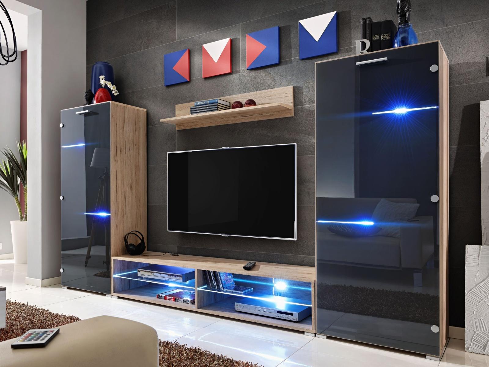 Smartshop MODERN, obývací stěna, dub san remo/grafit lesk