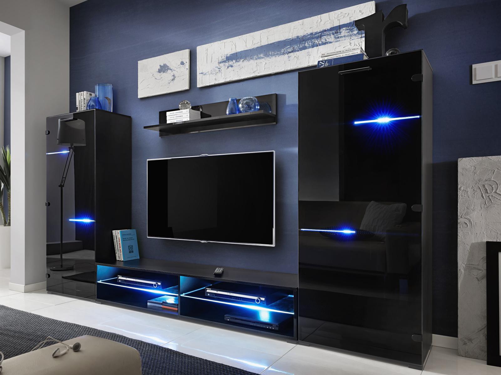 Smartshop MODERN, obývací stěna, černá/černý lesk