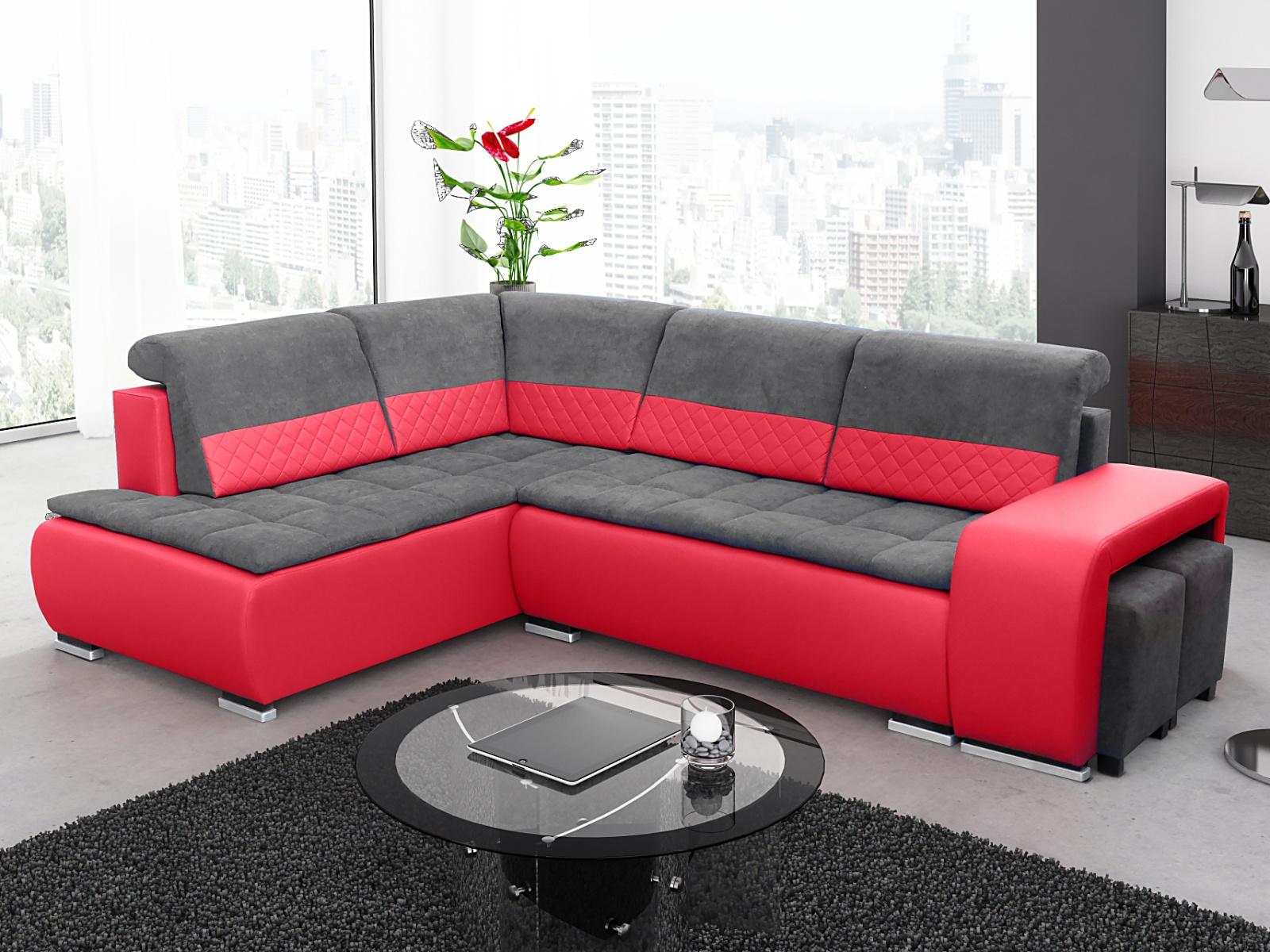 Smartshop Rohová sedačka GRANDER PLUS 1, levá, červená/šedá
