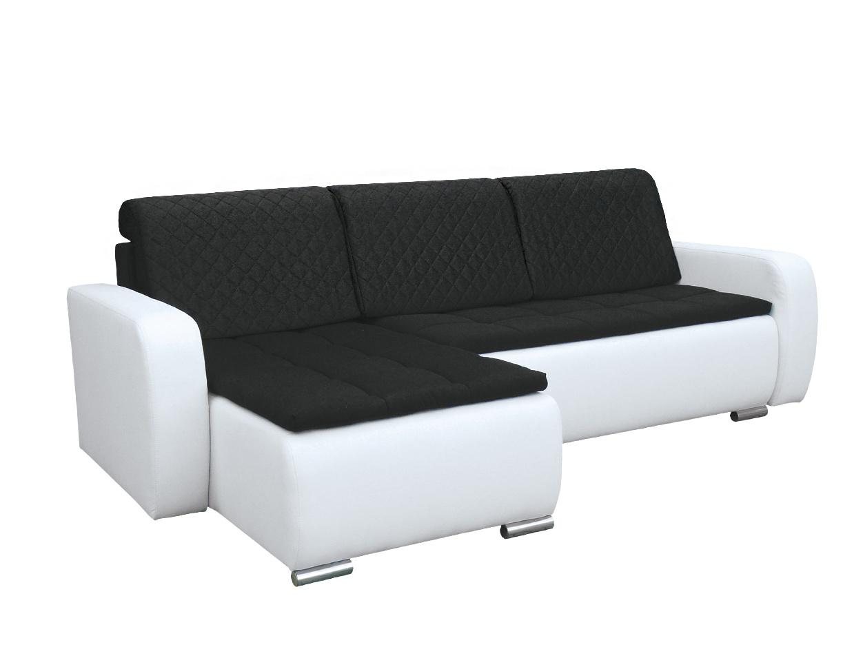 Smartshop Rohová sedačka GRAND 8, levá, černá/bílá
