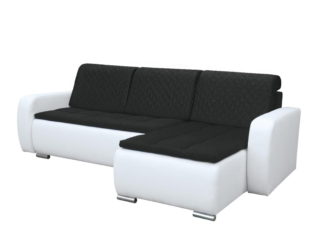 Smartshop Rohová sedačka GRAND 8, pravá, černá/bílá