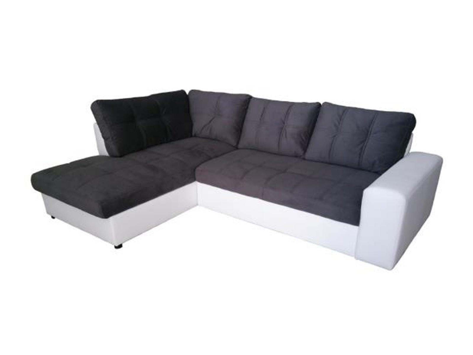 Aspol Rohová sedačka ORLANDO levá, šedá látka/bílá ekokůže