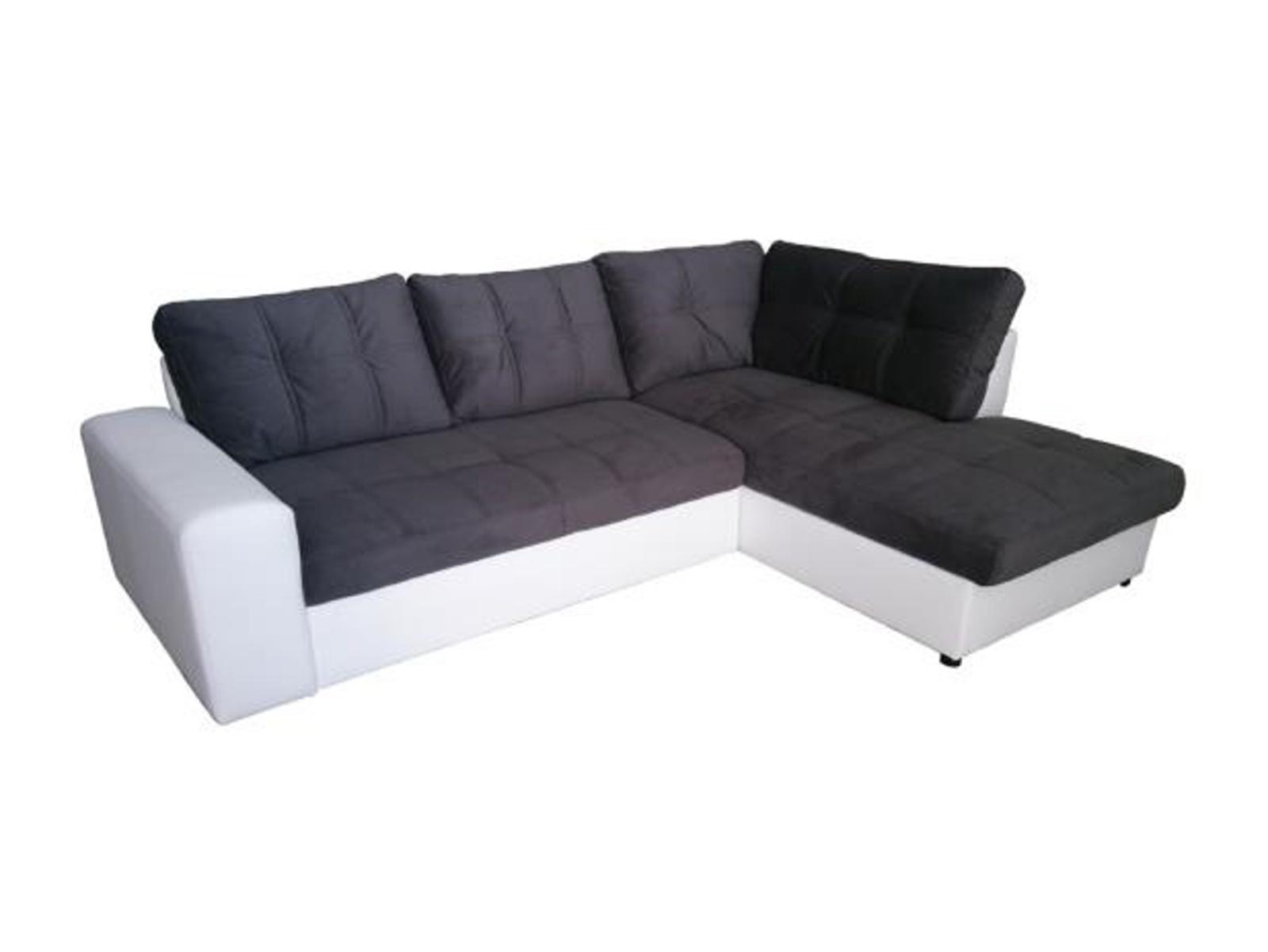 Aspol Rohová sedačka ORLANDO pravá, šedá látka/bílá ekokůže