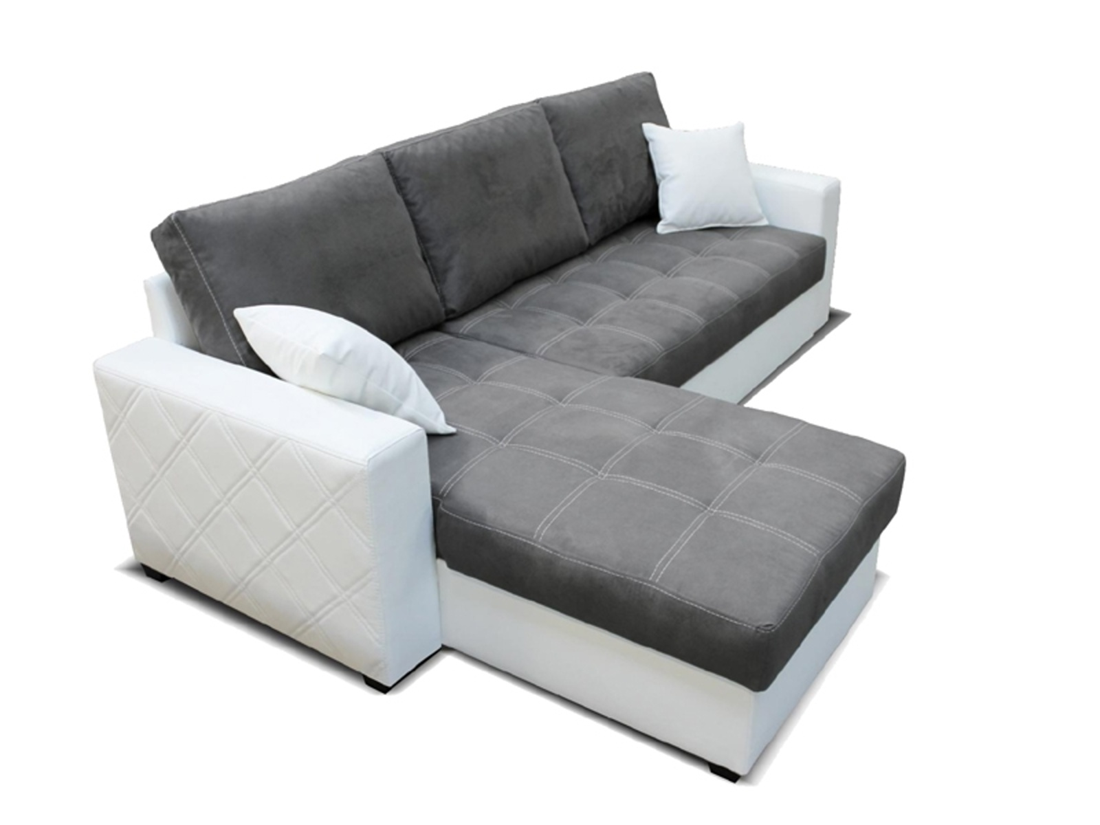 Aspol Rohová sedačka TERRA levá, šedá látka/bílá ekokůže