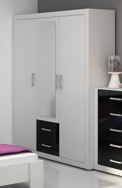 Šatní skříň MOLTENO 3D, bílá/černý lesk, 5 let záruka