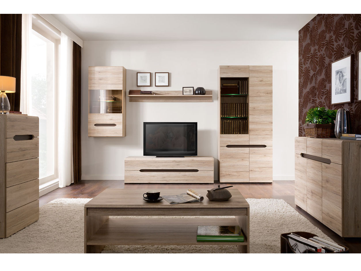 Black Red White Obývací pokoj ELPASSO, dub san remo světlý/dub wenge hnědý