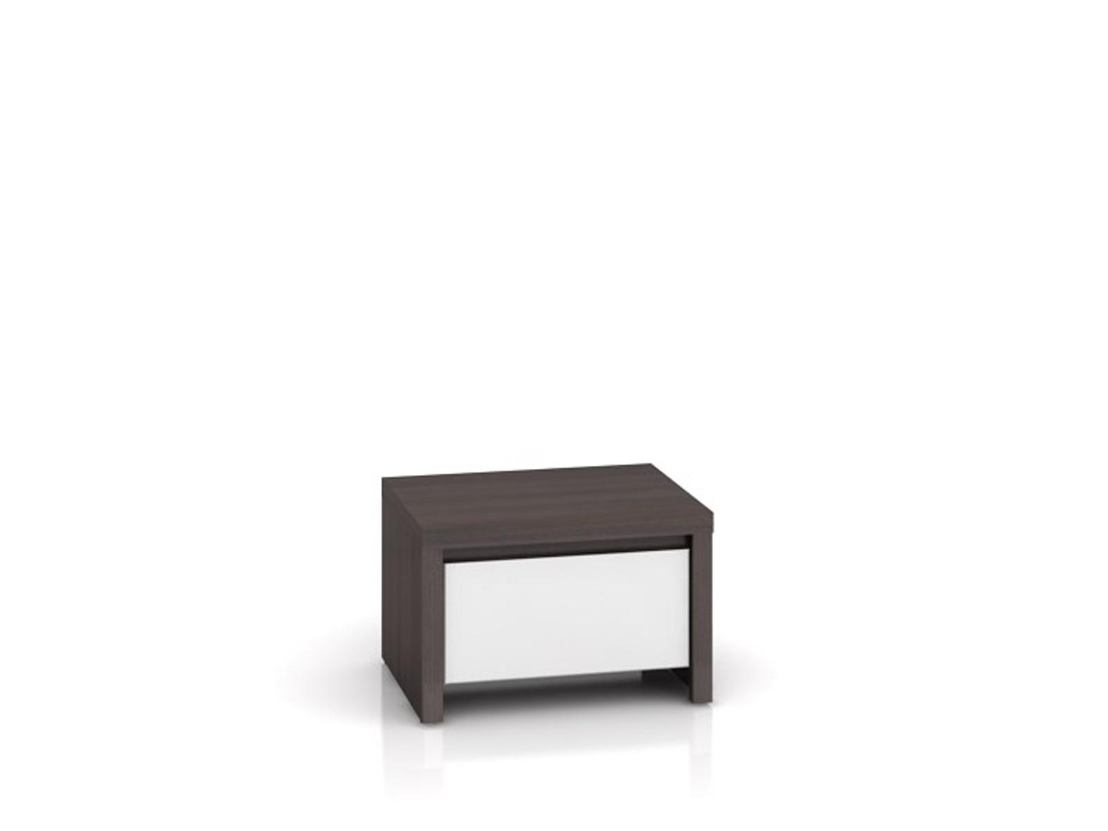 Black Red White KASPIAN, noční stolek KOM1S, bílý vysoký lesk