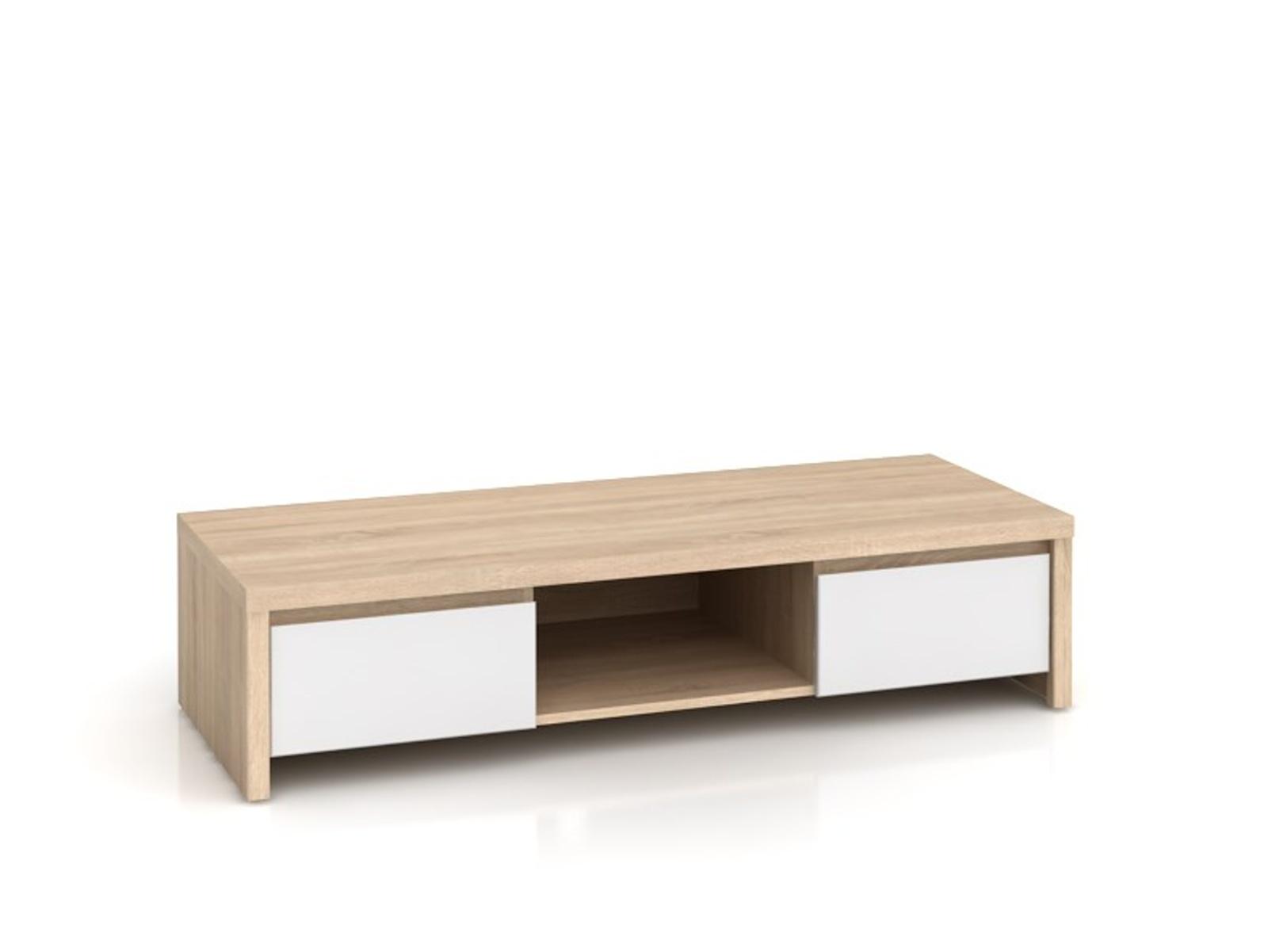 Black Red White KASPIAN, televizní stolek RTV2S, sonoma/bílý lesk