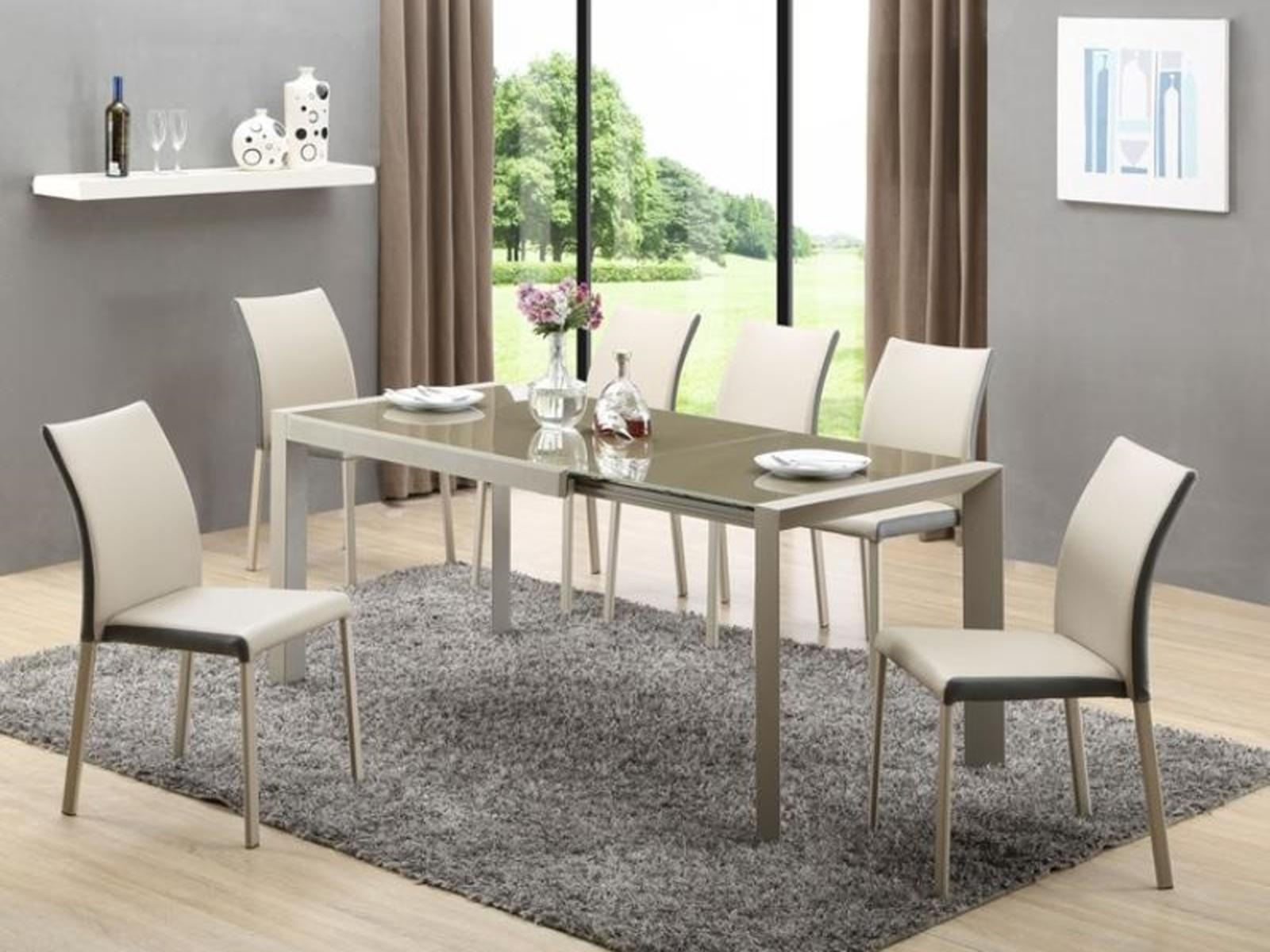 Halmar Jídelní stůl rozkládací ARABIS, kov/sklo