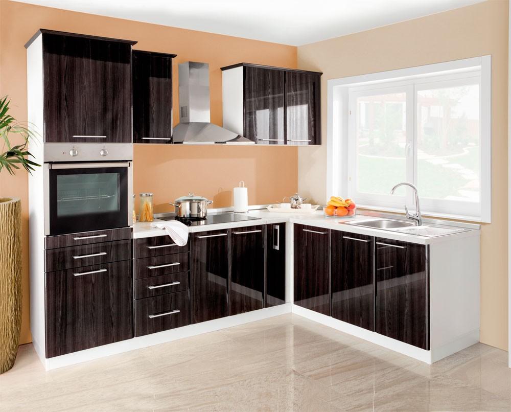 MATIS Rohová kuchyně IN MDF 240x170 cm, černý lesk VZOROVÁ SESTAVA, barva: