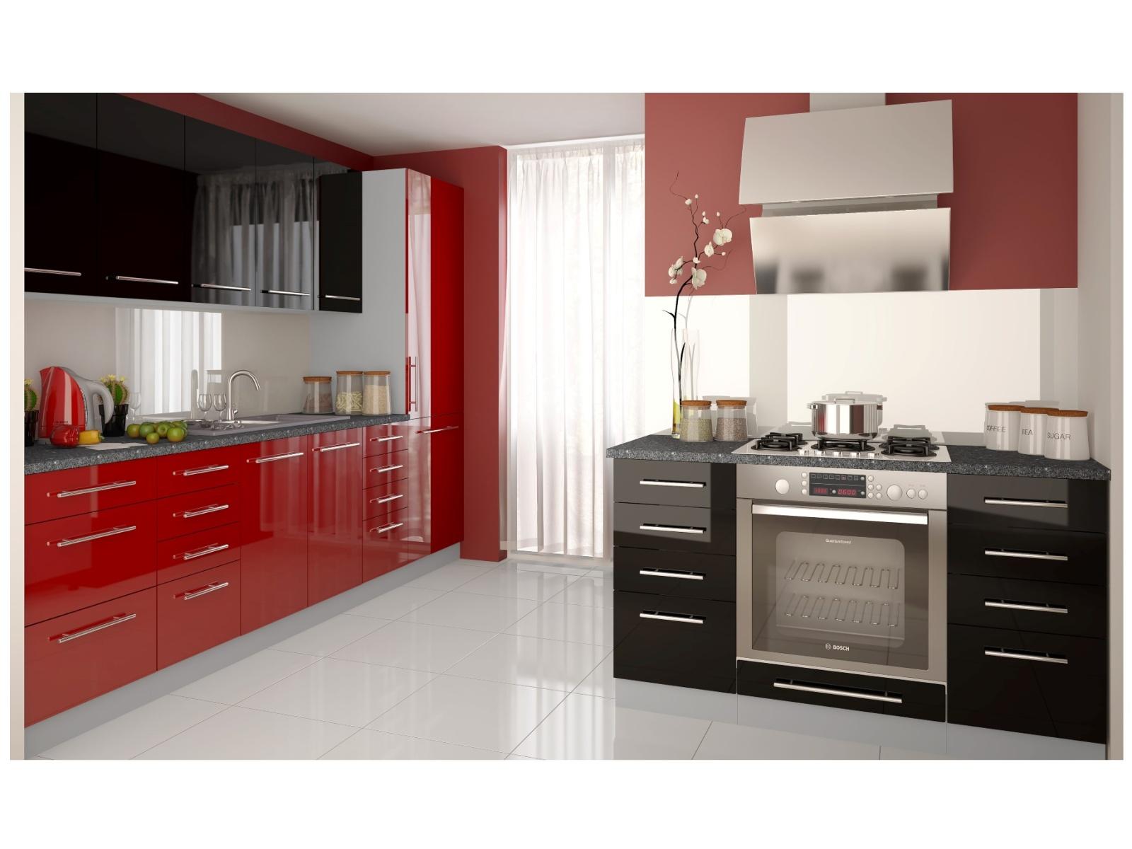 Kuchyně PLATINUM 270/410 cm, korpus grey, rose red + black