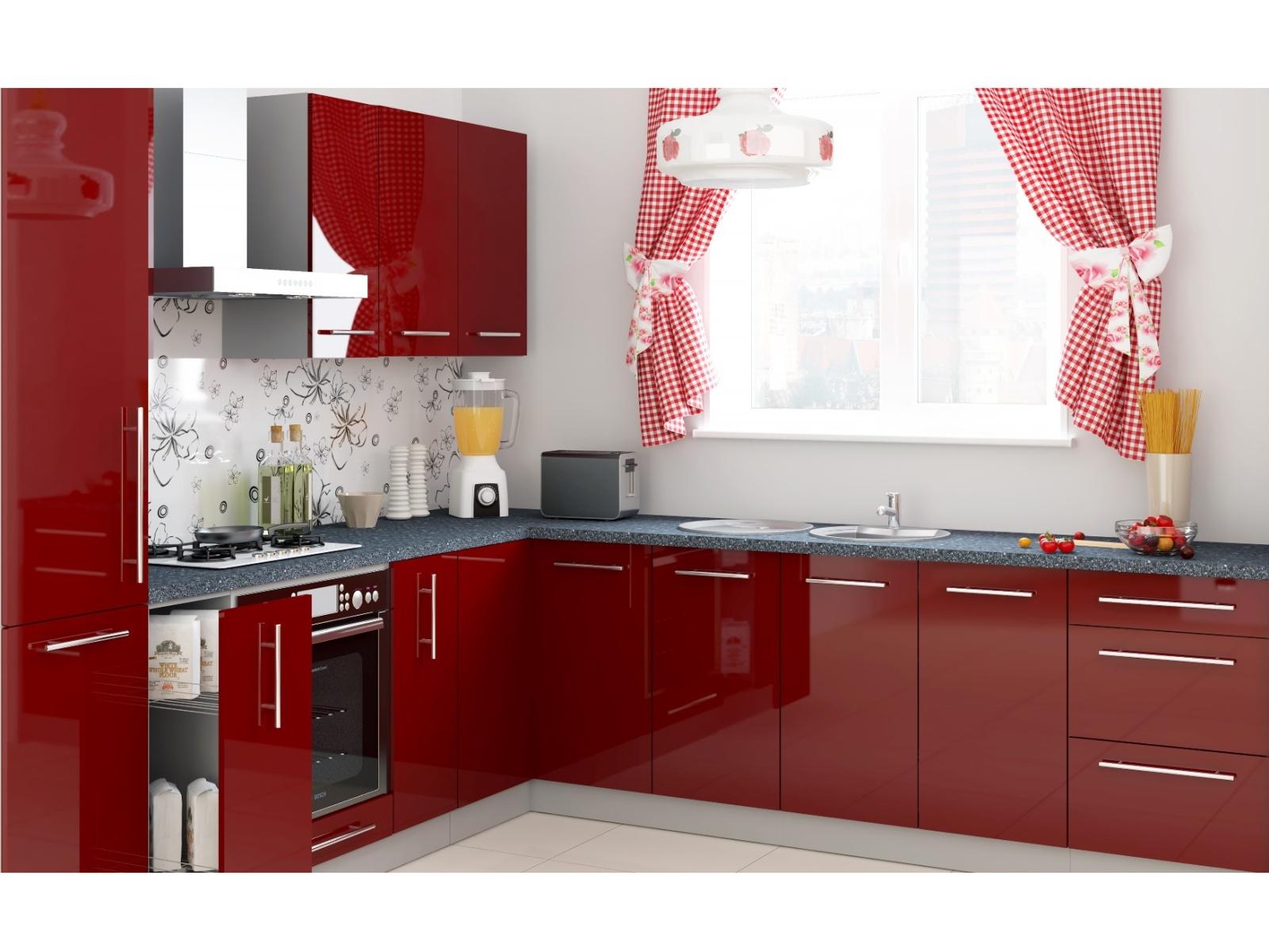 Extom Rohová kuchyně PLATINUM 130/400 cm, korpus grey, dvířka deep red