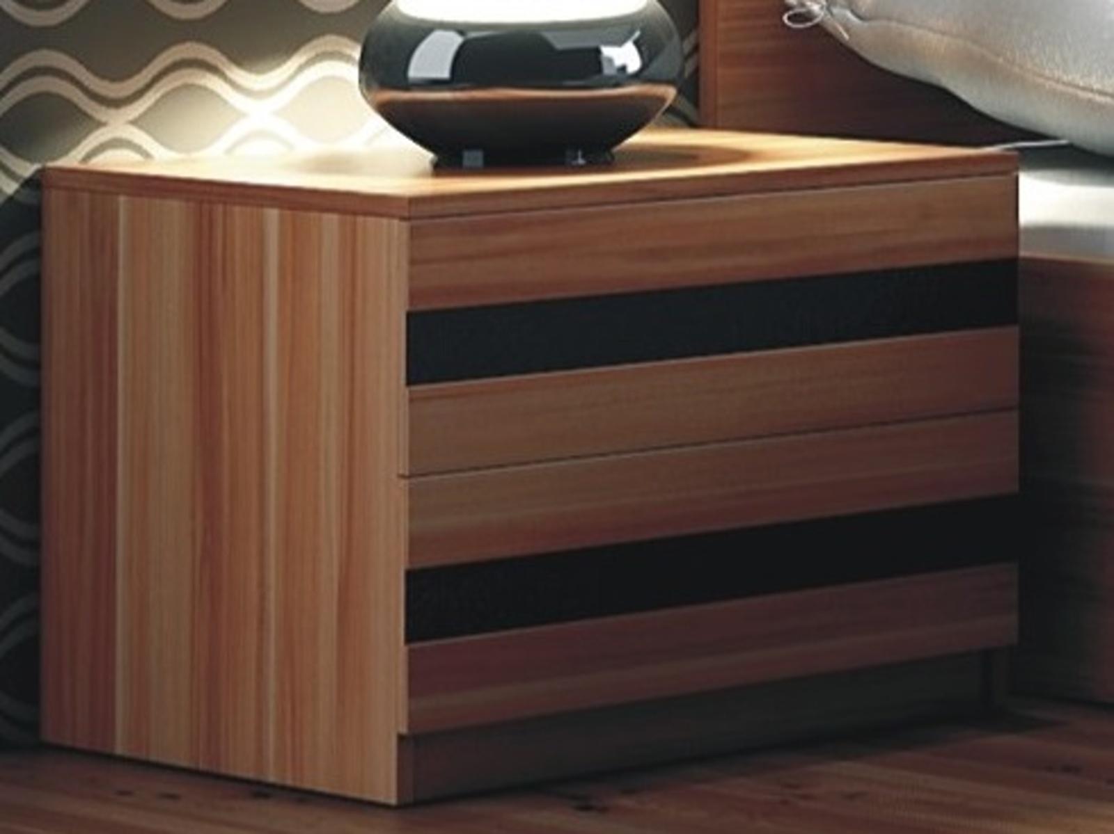 Smartshop Noční stolek FLORENCJA, švestka/černé sklo