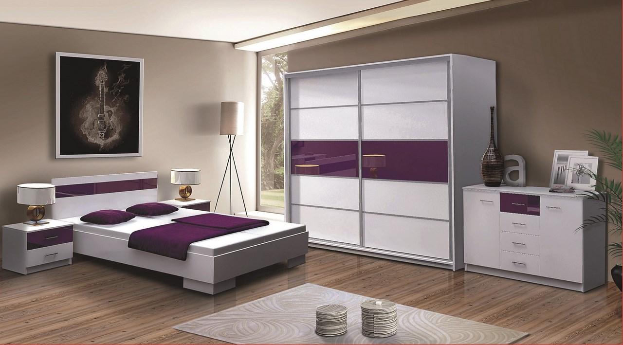 Ložnice DUBAJ, bilá/fialové sklo
