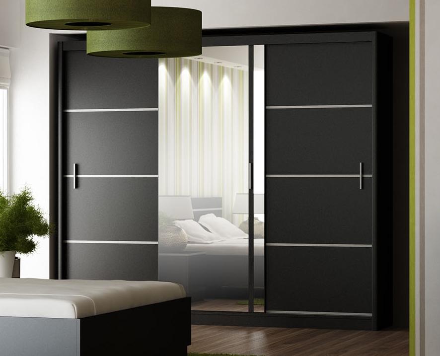 Smartshop Šatní skříň s posuvnými dveřmi VISTA 250, černá
