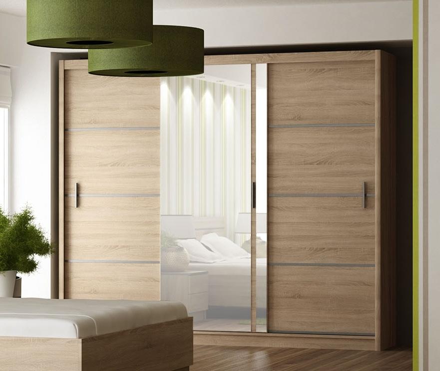 Smartshop Šatní skříň s posuvnými dveřmi VISTA 250, dub sonoma