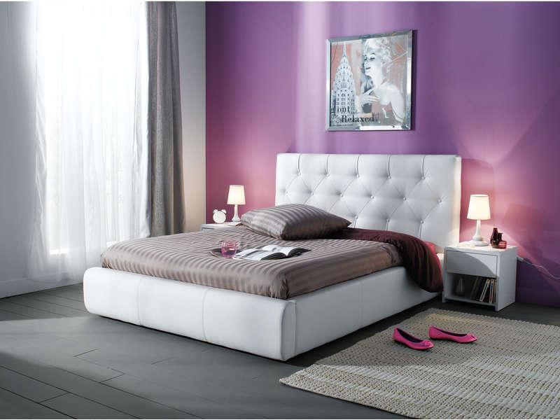 Aspol Jasmine postel 160x200, bílá ekokůže