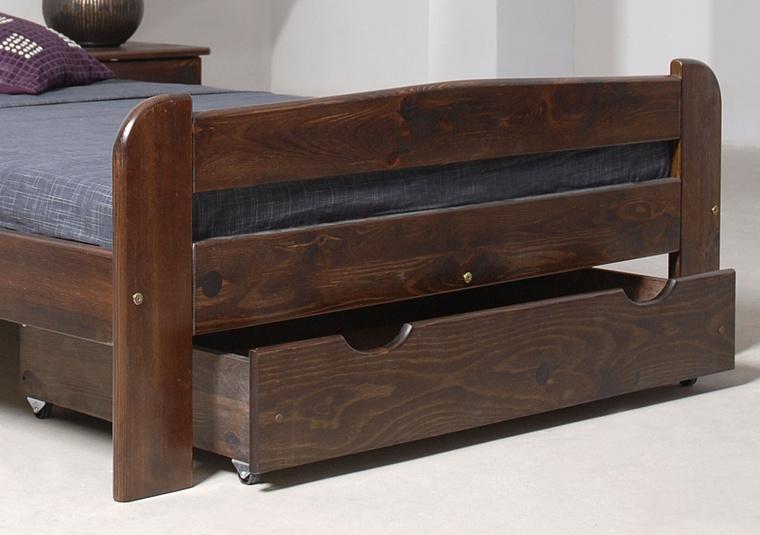 MAGNAT Úložný prostor pod postel 98 cm, masiv borovice/moření ořech