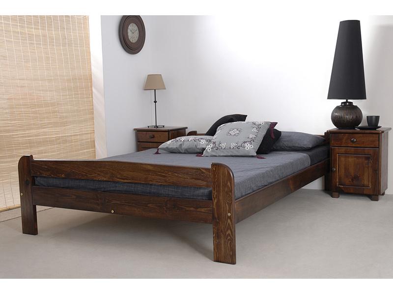 MAGNAT Postel ANIA 140x200 cm s roštem, masiv borovice/moření ořech