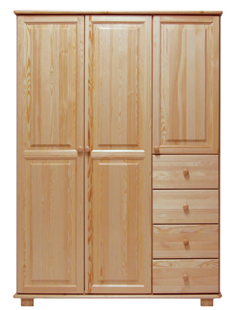 Skříň 3D BHAGIRA 4, šíře 120 cm, masiv borovice, moření: ...