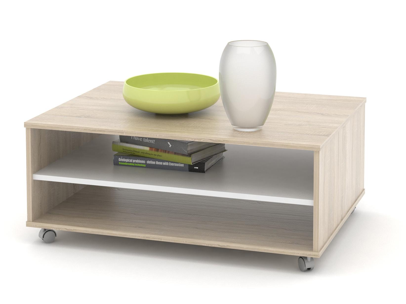 Konferenční stolek LAWSON 05, dub sonoma/bílá