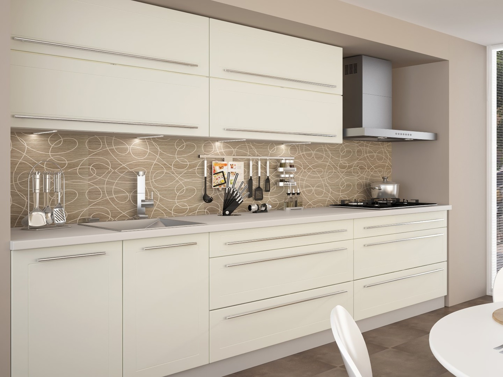 Extom Kuchyně QUANTUM, vzorová sestava, vanilla mat/grey