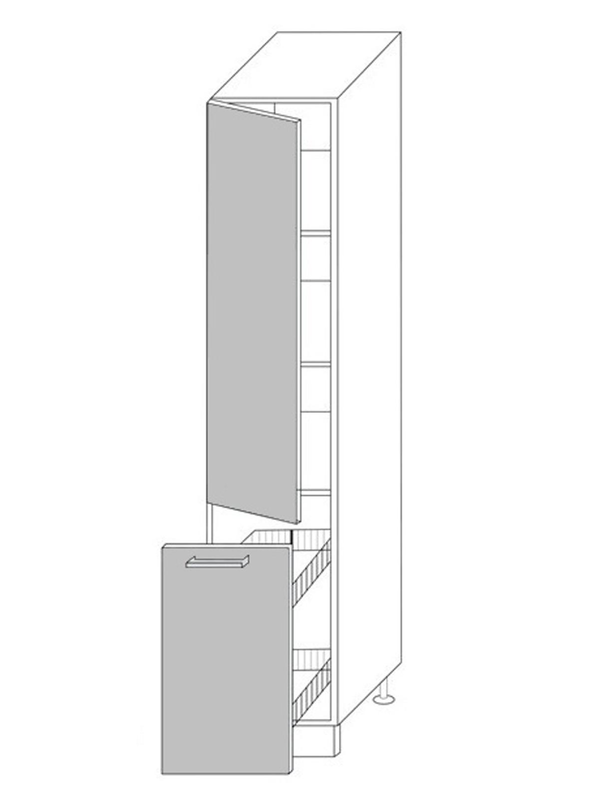 Extom QUANTUM, skříňka potravinová 2D14k 40 + cargo, vanilla mat/grey