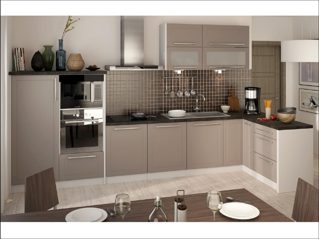 Extom Rohová kuchyně QUANTUM, vzorová sestava, beige mat/grey