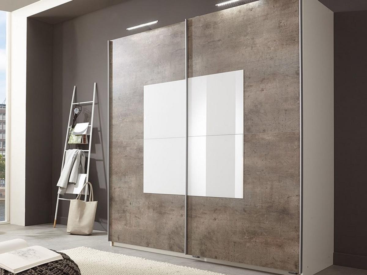 Smartshop TARO, šatní skříň s posuvnými dveřmi, beton/aplská bílá