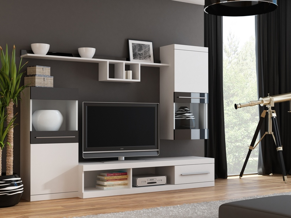 Obývací stěna NICK, bílá/černá